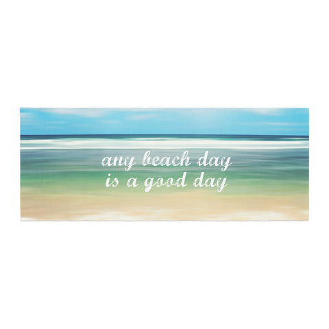 "Sylvia Cook ""Any Beach Day"" Coastal Typography Bed Runner - KESS InHouse"