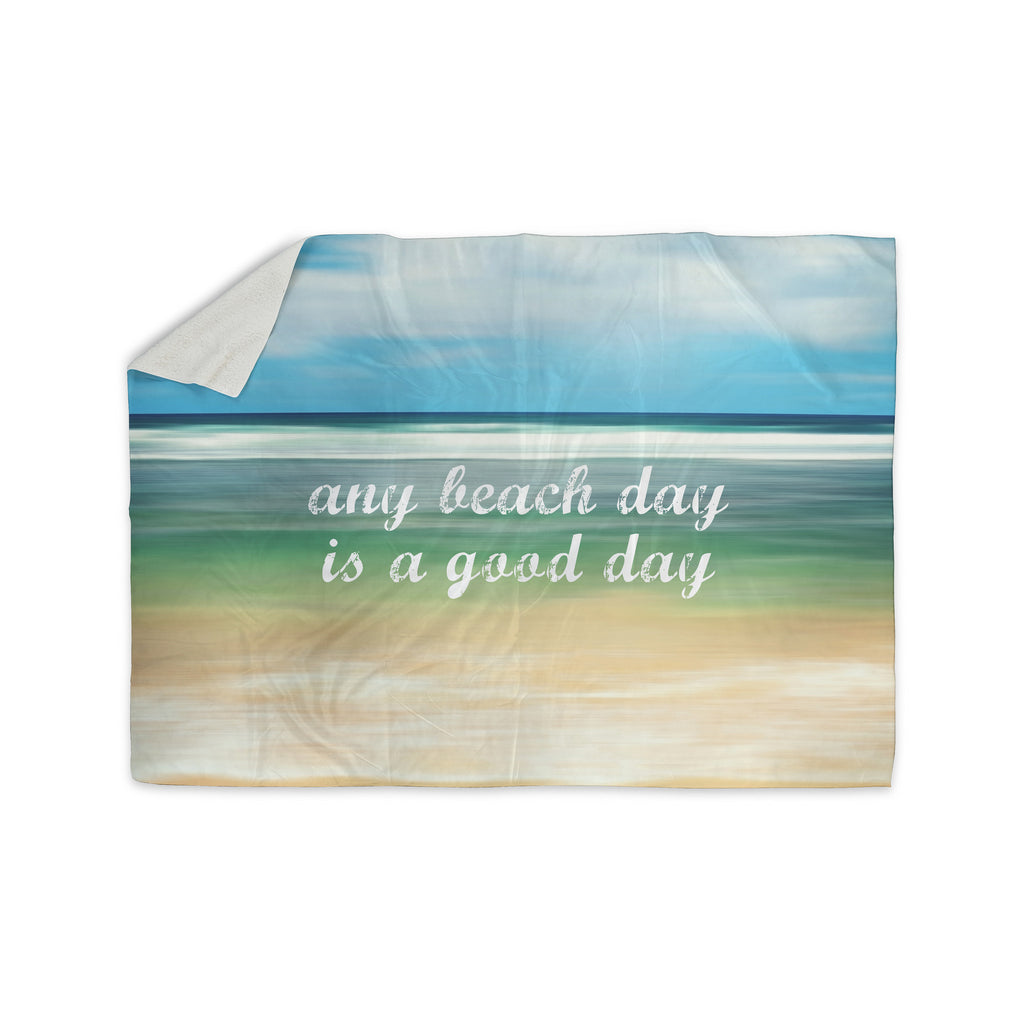 "Sylvia Cook ""Any Beach Day"" Coastal Typography Sherpa Blanket - KESS InHouse  - 1"