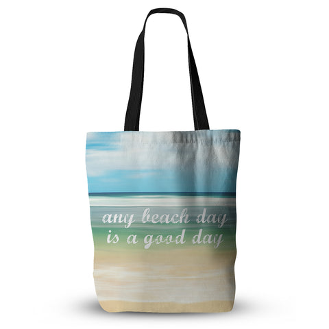 "Sylvia Cook ""Any Beach Day"" Coastal Typography Everything Tote Bag - Outlet Item"