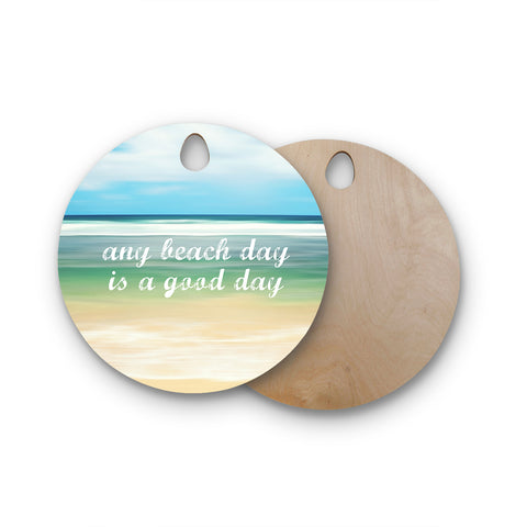 "Sylvia Cook ""Any Beach Day"" Coastal Typography Round Wooden Cutting Board"
