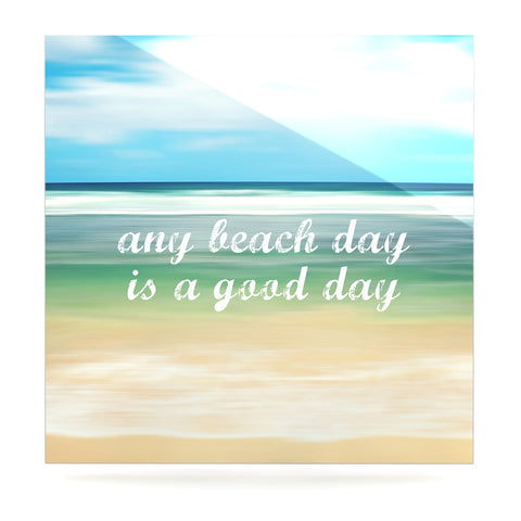 "Sylvia Cook ""Any Beach Day"" Coastal Typography Luxe Square Panel - KESS InHouse  - 1"
