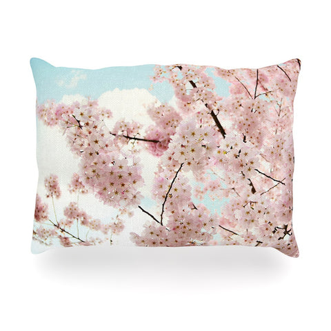 "Sylvia Cook ""Spring Beauty"" Pink Blue Oblong Pillow - KESS InHouse"