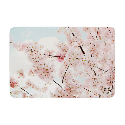 "Sylvia Cook ""Spring Beauty"" Pink Blue Memory Foam Bath Mat - KESS InHouse"