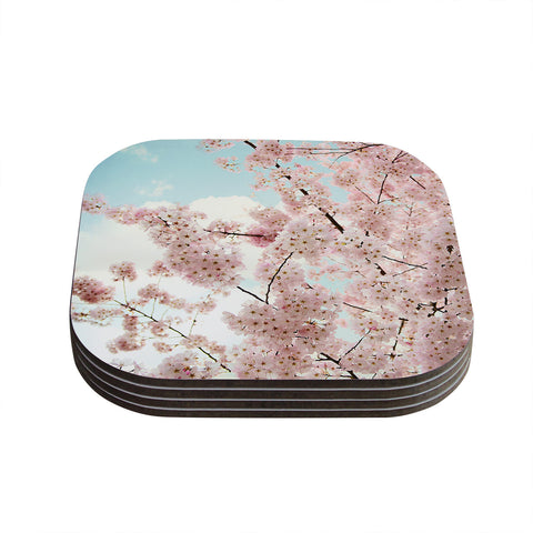 "Sylvia Cook ""Spring Beauty"" Pink Blue Coasters (Set of 4)"