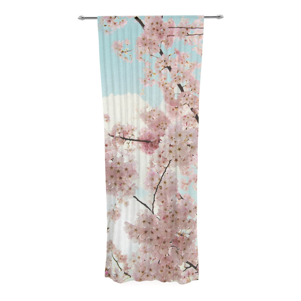 "Sylvia Cook ""Spring Beauty"" Pink Blue Decorative Sheer Curtain - KESS InHouse  - 1"