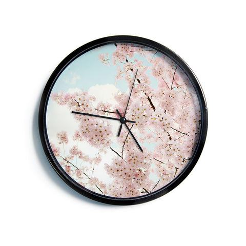 "Sylvia Cook ""Spring Beauty"" Pink Blue Modern Wall Clock"