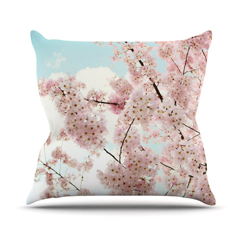 "Sylvia Cook ""Spring Beauty"" Pink Blue Outdoor Throw Pillow - KESS InHouse  - 1"