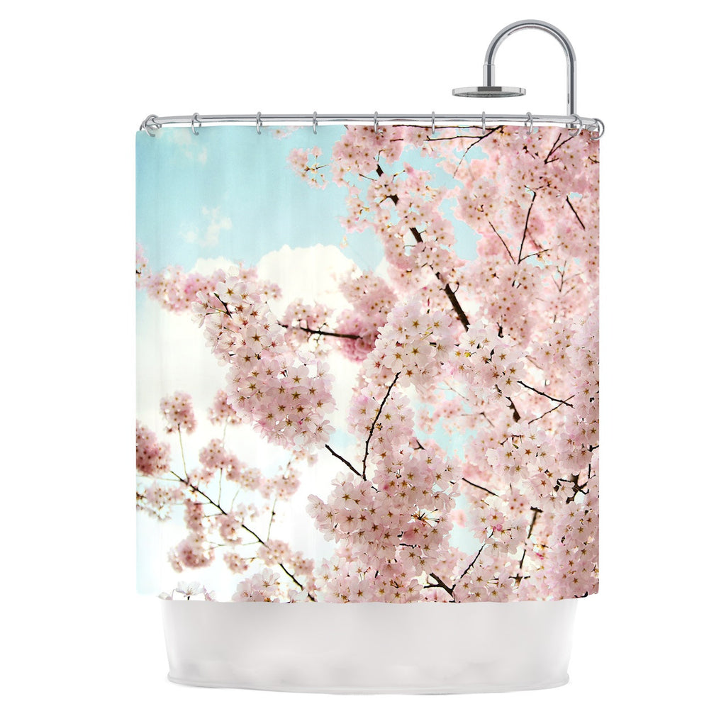"Sylvia Cook ""Spring Beauty"" Pink Blue Shower Curtain - KESS InHouse"