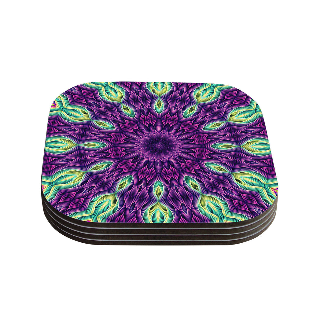 "Sylvia Cook ""Zapped - Purple"" Purple Green Coasters (Set of 4)"