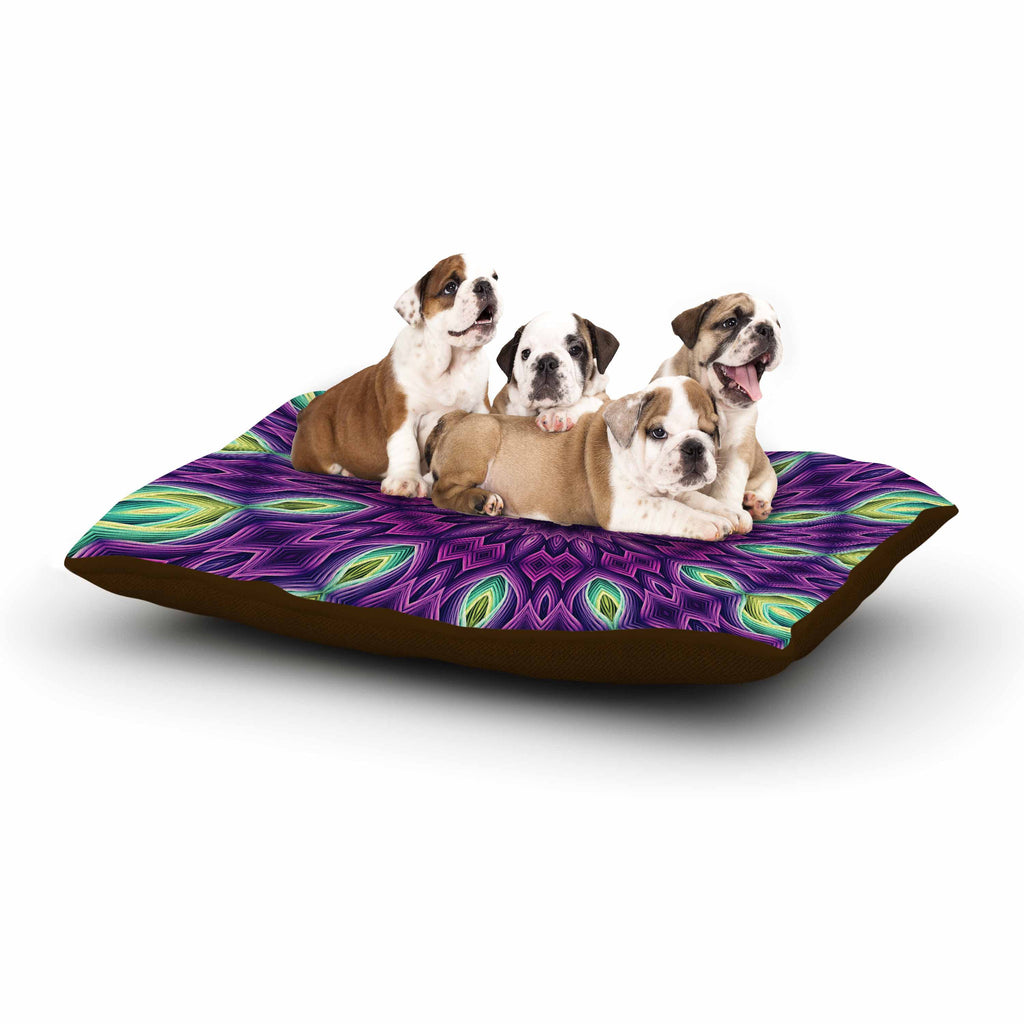 "Sylvia Cook ""Zapped - Purple"" Purple Green Dog Bed - KESS InHouse  - 1"