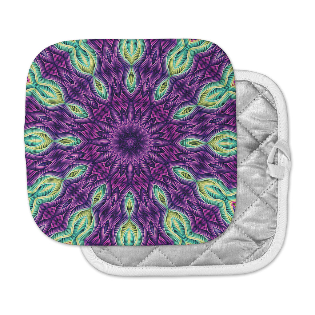 "Sylvia Cook ""Zapped - Purple"" Purple Green Pot Holder"
