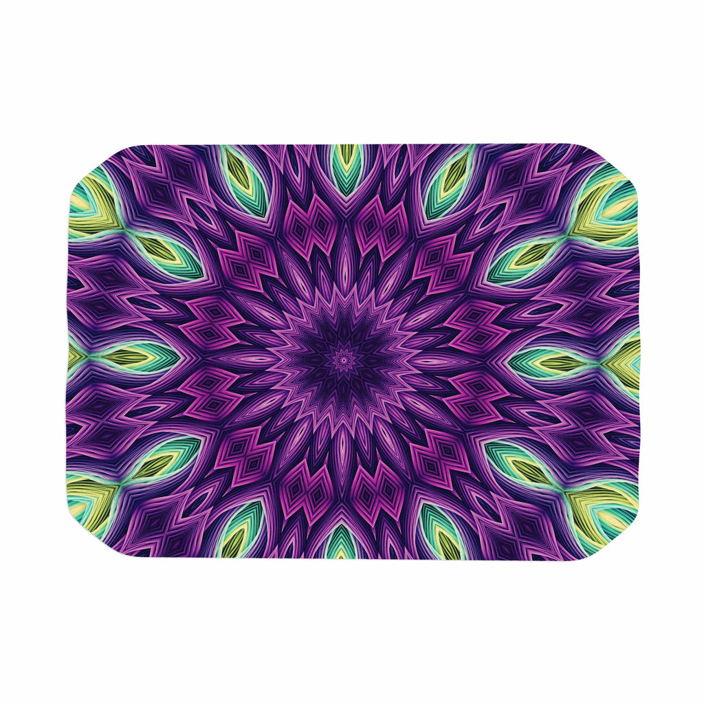 "Sylvia Cook ""Zapped - Purple"" Purple Green Place Mat - KESS InHouse"