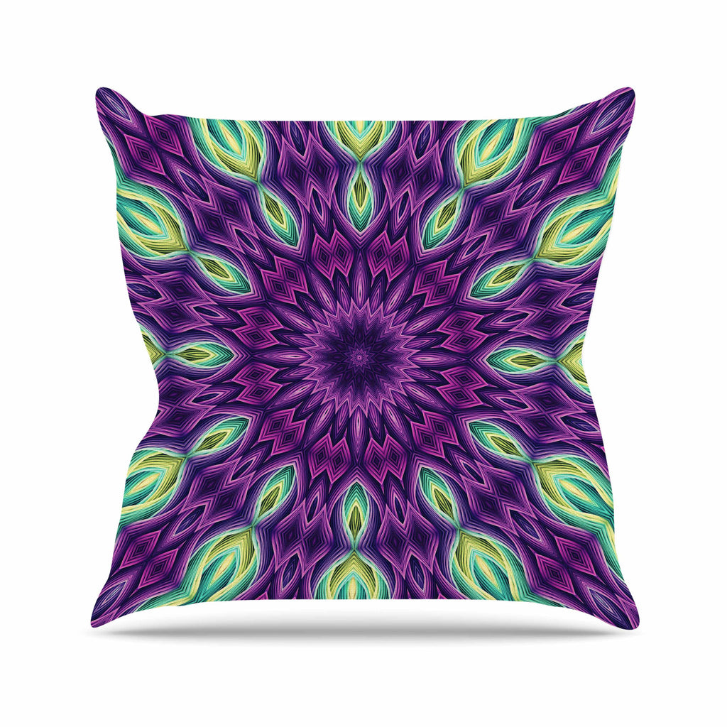 "Sylvia Cook ""Zapped - Purple"" Purple Green Throw Pillow - KESS InHouse  - 1"