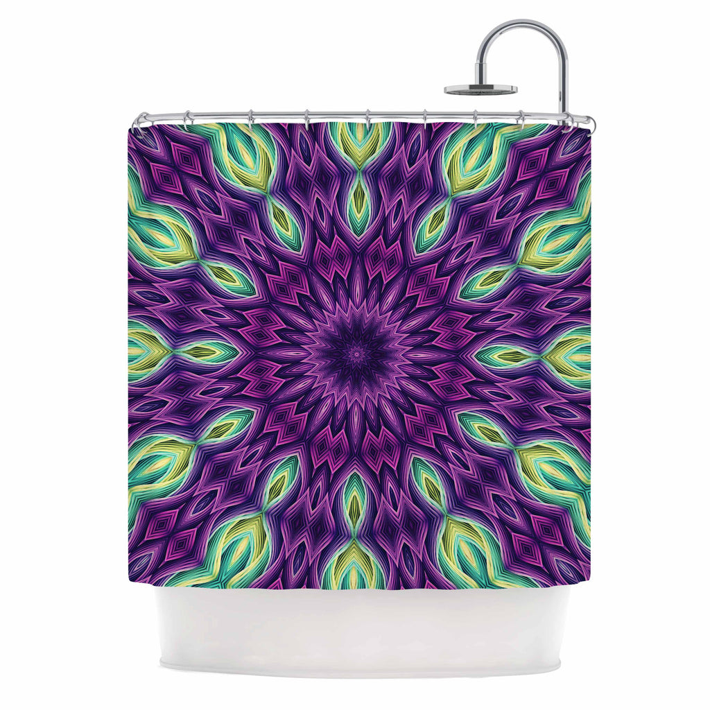 "Sylvia Cook ""Zapped - Purple"" Purple Green Shower Curtain - KESS InHouse"