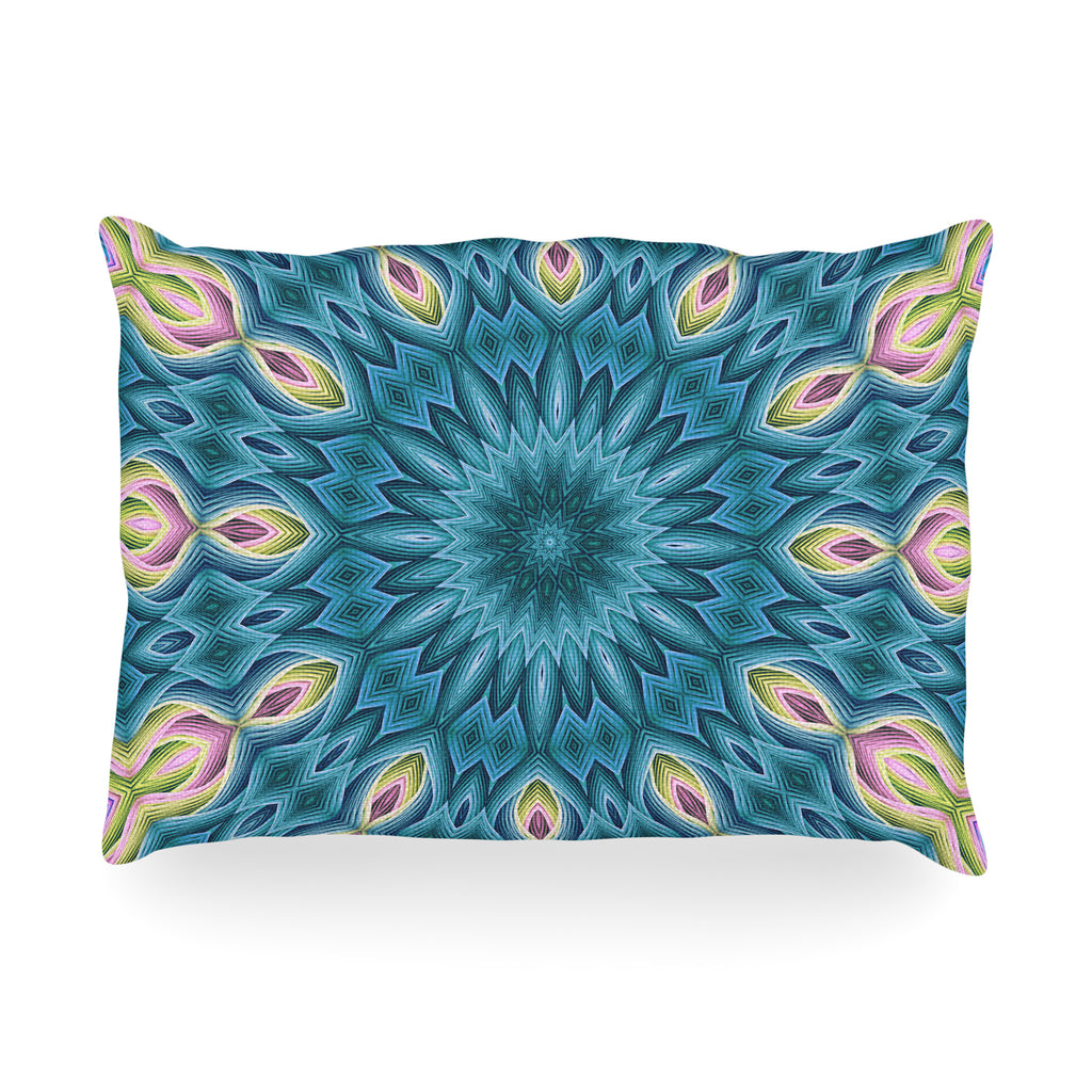 "Sylvia Cook ""Zapped Teal"" Blue Teal Oblong Pillow"