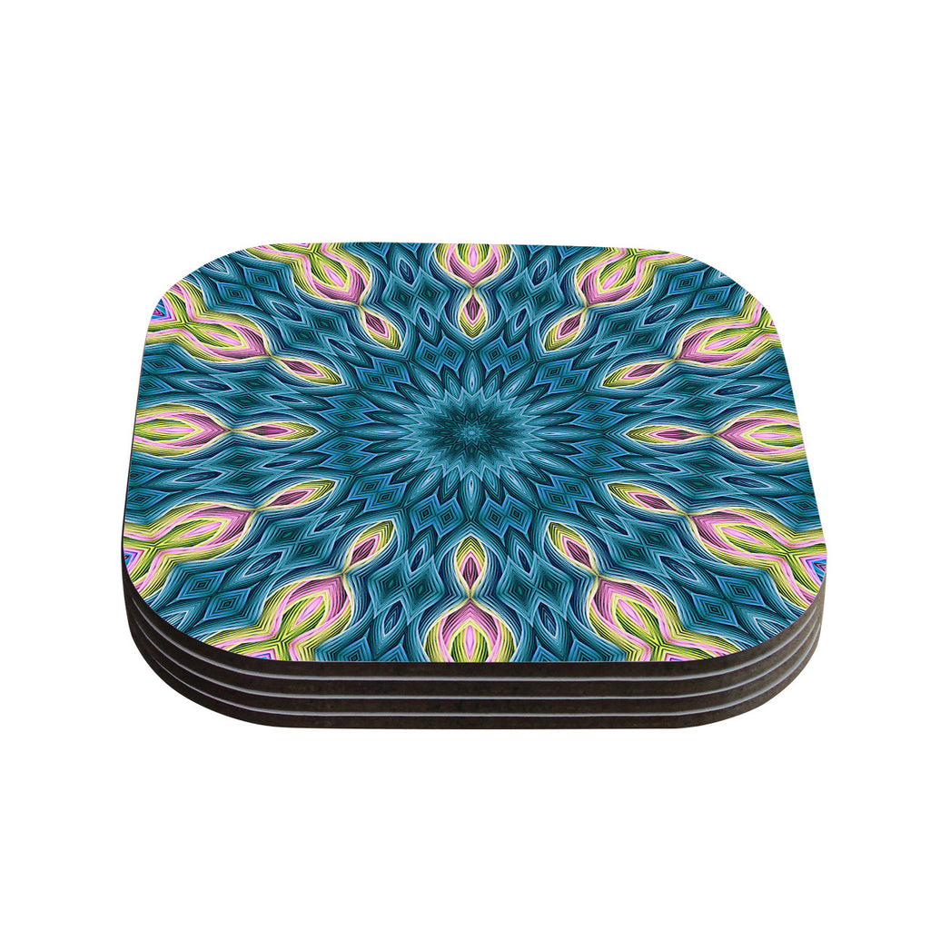 "Sylvia Cook ""Zapped Teal"" Blue Teal Coasters (Set of 4)"