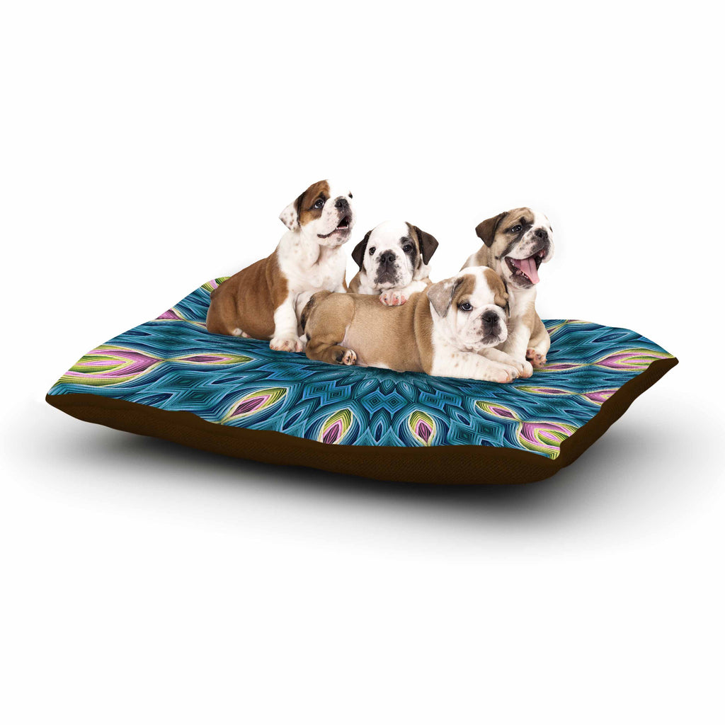 "Sylvia Cook ""Zapped Teal"" Blue Teal Dog Bed - KESS InHouse  - 1"