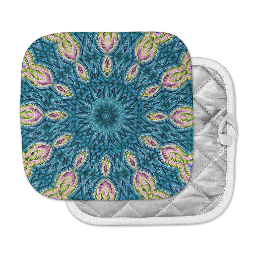 "Sylvia Cook ""Zapped Teal"" Blue Teal Pot Holder"