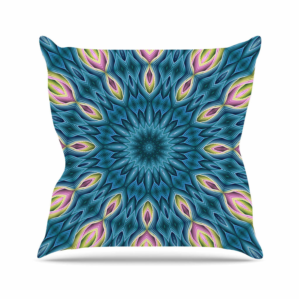 "Sylvia Cook ""Zapped Teal"" Blue Teal Outdoor Throw Pillow - KESS InHouse  - 1"