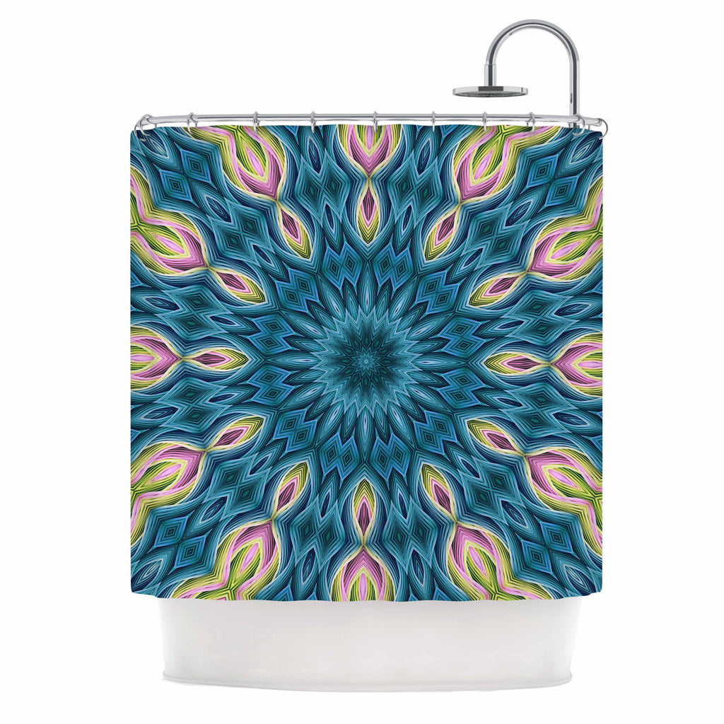 "Sylvia Cook ""Zapped Teal"" Blue Teal Shower Curtain - KESS InHouse"