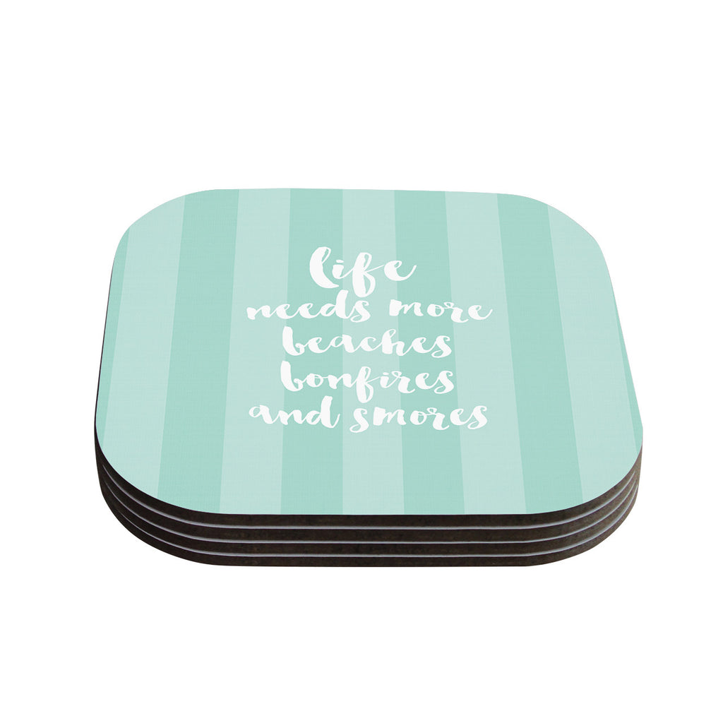 "Sylvia Cook ""Beaches & Bonfires - Mint"" Green Typography Coasters (Set of 4)"