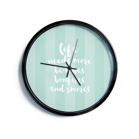 "Sylvia Cook ""Beaches & Bonfires - Mint"" Green Typography Modern Wall Clock"