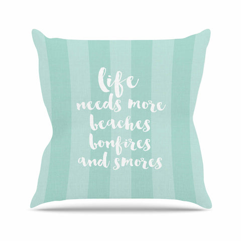 "Sylvia Cook ""Beaches & Bonfires - Mint"" Green Typography Outdoor Throw Pillow - KESS InHouse  - 1"