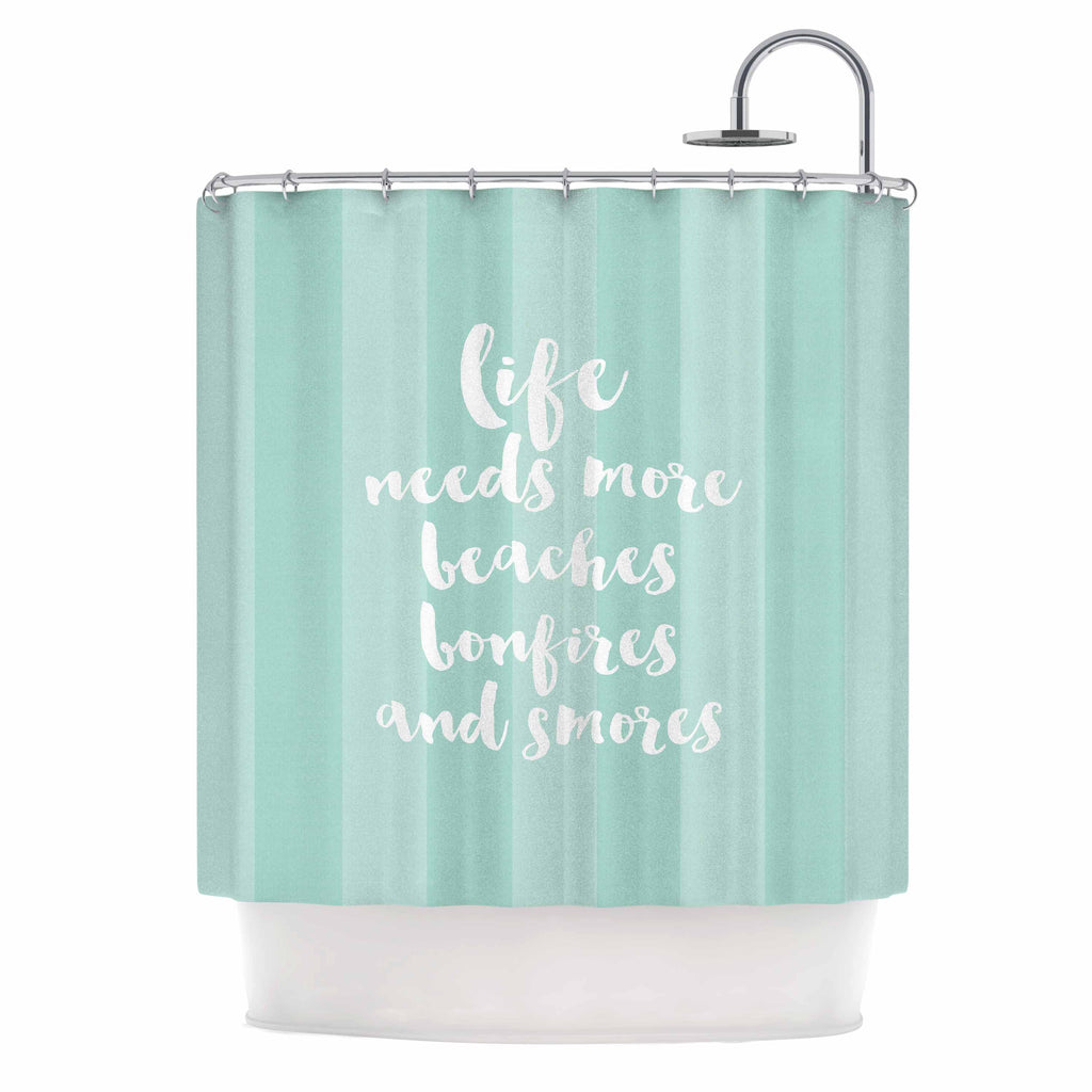 "Sylvia Cook ""Beaches & Bonfires - Mint"" Green Typography Shower Curtain - KESS InHouse"