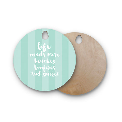"Sylvia Cook ""Beaches & Bonfires - Mint"" Green Typography Round Wooden Cutting Board"