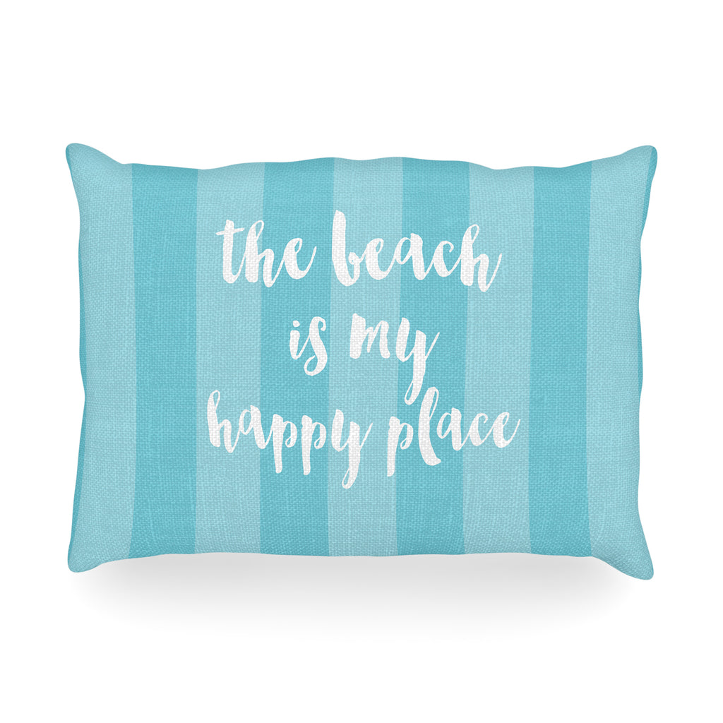 "Sylvia Cook ""Beach is My Happy Place - Blue"" Aqua Typography Oblong Pillow"