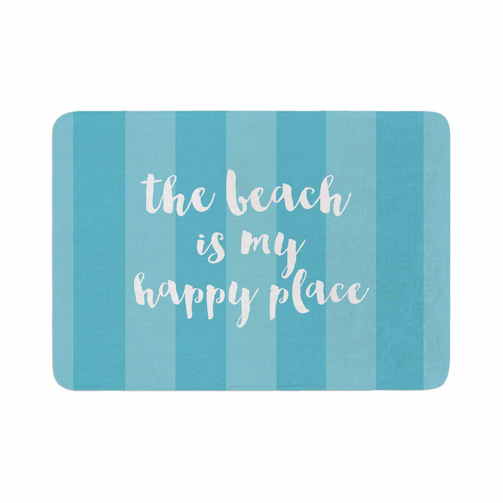 "Sylvia Cook ""Beach is My Happy Place - Blue"" Aqua Typography Memory Foam Bath Mat - KESS InHouse"