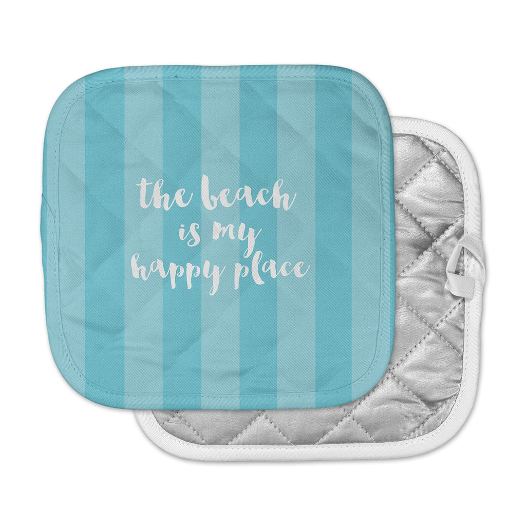 "Sylvia Cook ""Beach is My Happy Place - Blue"" Aqua Typography Pot Holder"