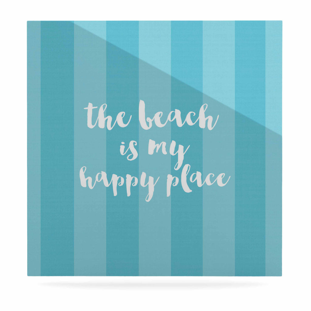 "Sylvia Cook ""Beach is My Happy Place - Blue"" Aqua Typography Luxe Square Panel - KESS InHouse  - 1"