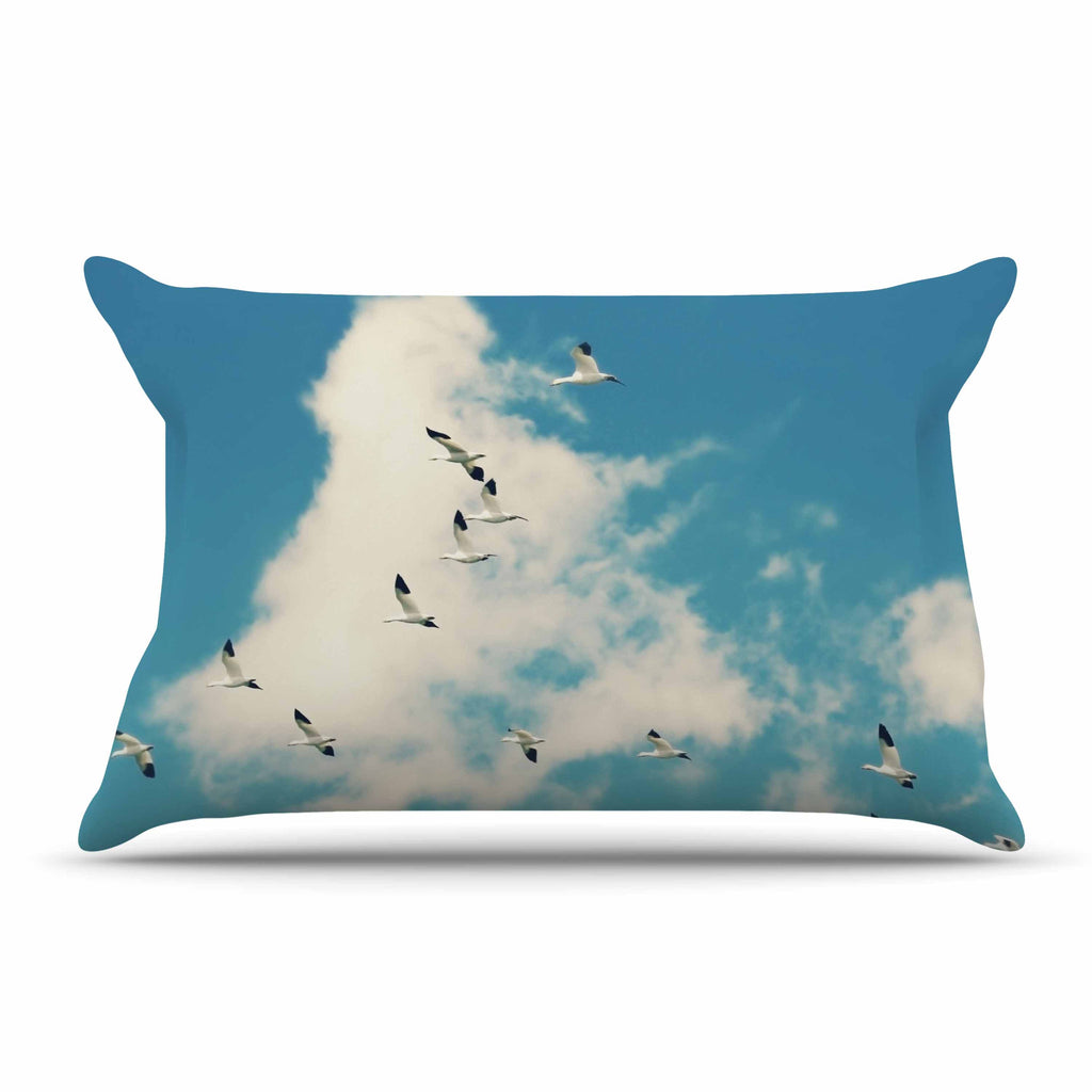 "Sylvia Cook ""Snow Geese"" Blue White Pillow Sham - KESS InHouse"