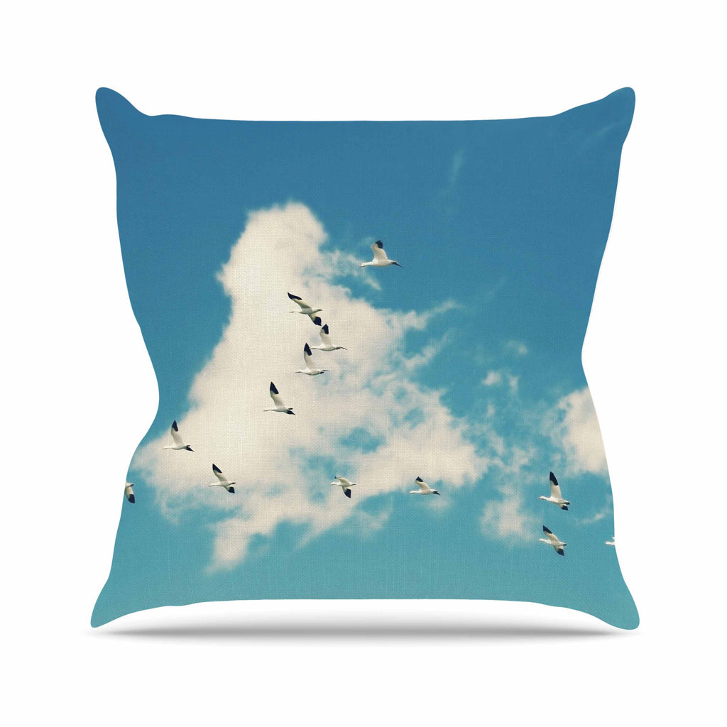 "Sylvia Cook ""Snow Geese"" Blue White Throw Pillow - KESS InHouse  - 1"