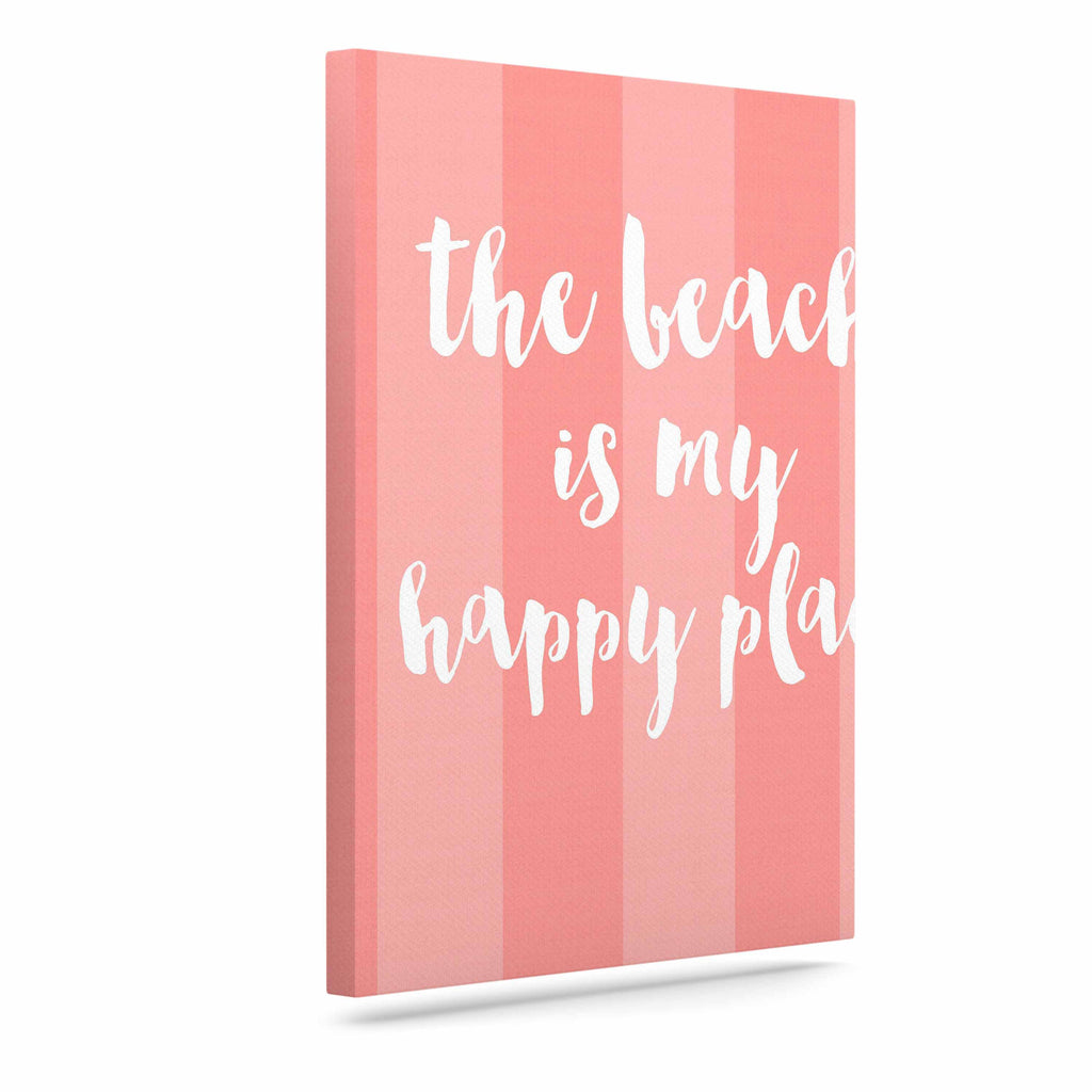 "Sylvia Cook ""Beach is My Happy Place - Coral"" Pink Typography Canvas Art - KESS InHouse  - 1"
