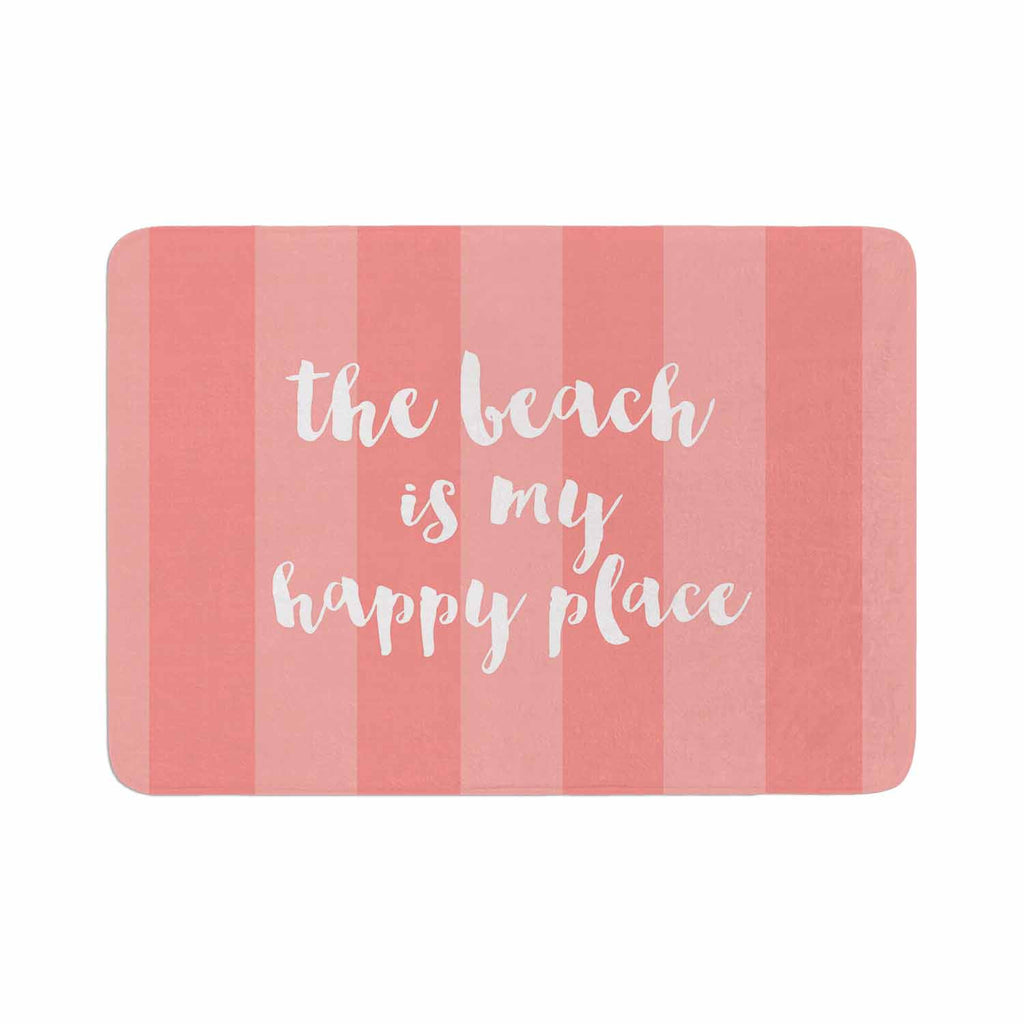 "Sylvia Cook ""Beach is My Happy Place - Coral"" Pink Typography Memory Foam Bath Mat - KESS InHouse"