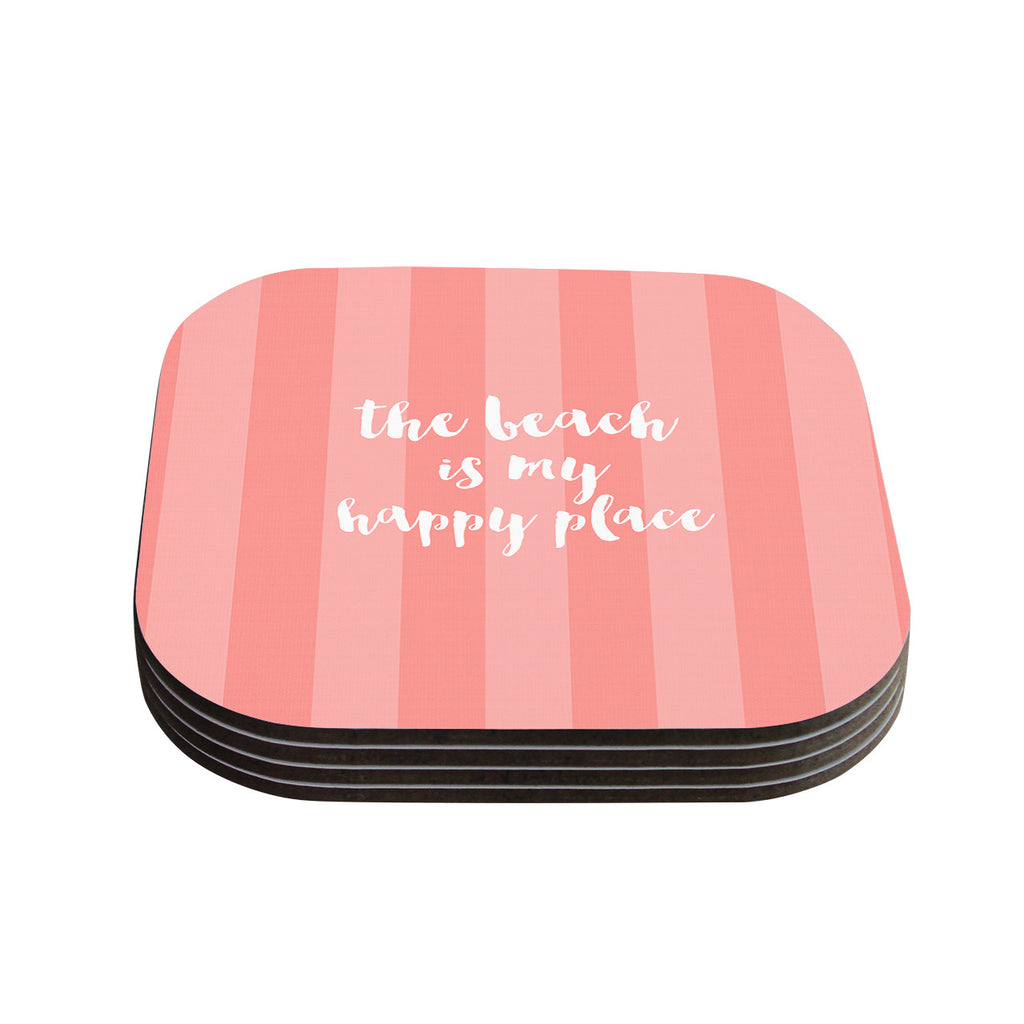 "Sylvia Cook ""Beach is My Happy Place - Coral"" Pink Typography Coasters (Set of 4)"
