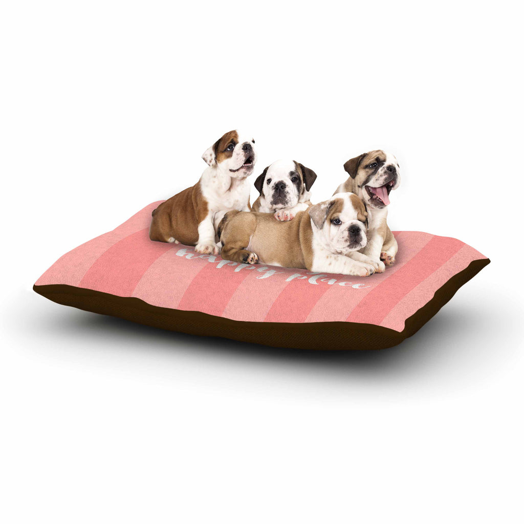 "Sylvia Cook ""Beach is My Happy Place - Coral"" Pink Typography Dog Bed - KESS InHouse  - 1"