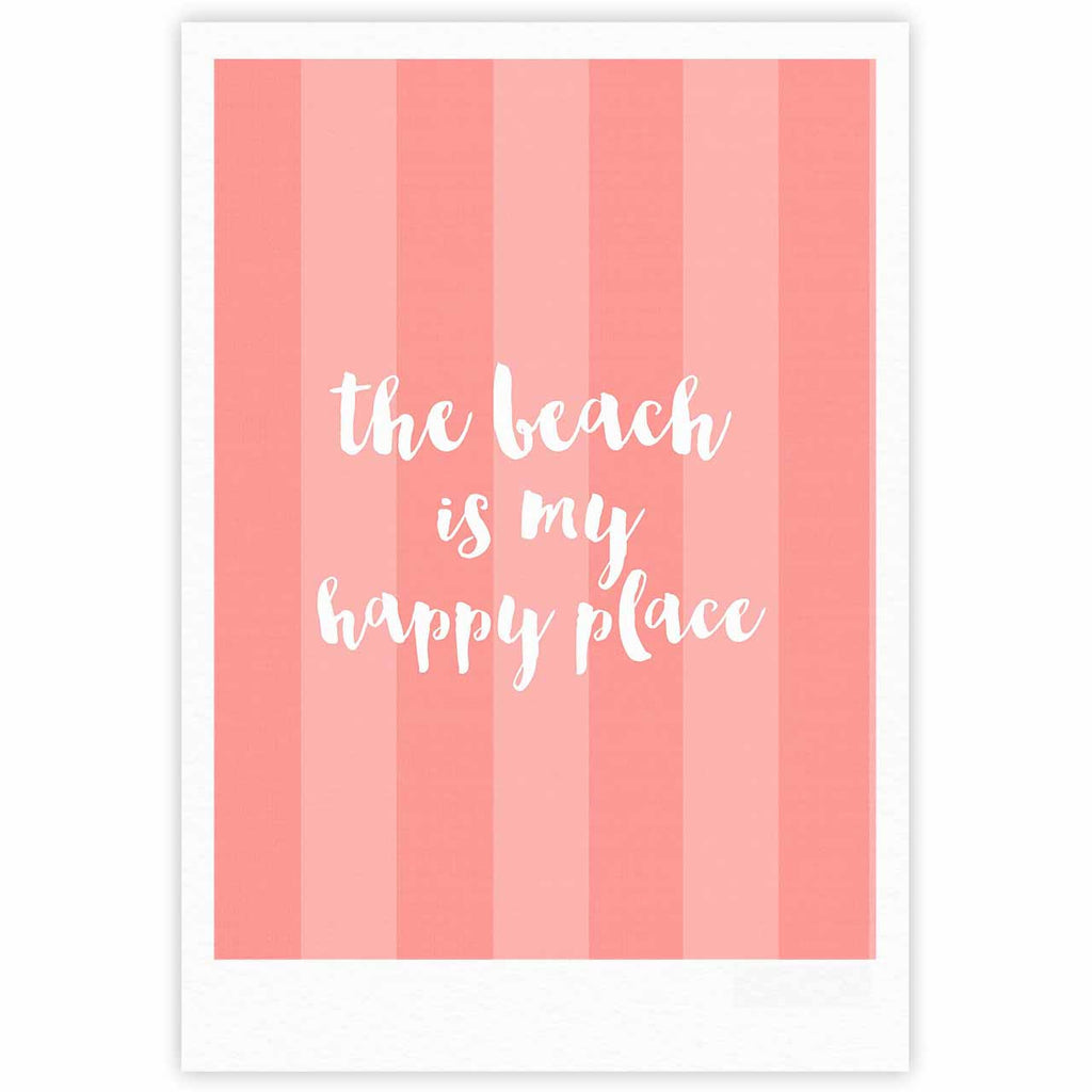 "Sylvia Cook ""Beach is My Happy Place - Coral"" Pink Typography Fine Art Gallery Print - KESS InHouse"