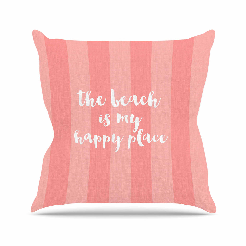 "Sylvia Cook ""Beach is My Happy Place - Coral"" Pink Typography Outdoor Throw Pillow - KESS InHouse  - 1"