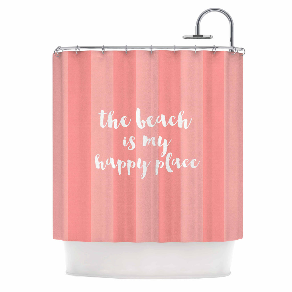 "Sylvia Cook ""Beach is My Happy Place - Coral"" Pink Typography Shower Curtain - KESS InHouse"