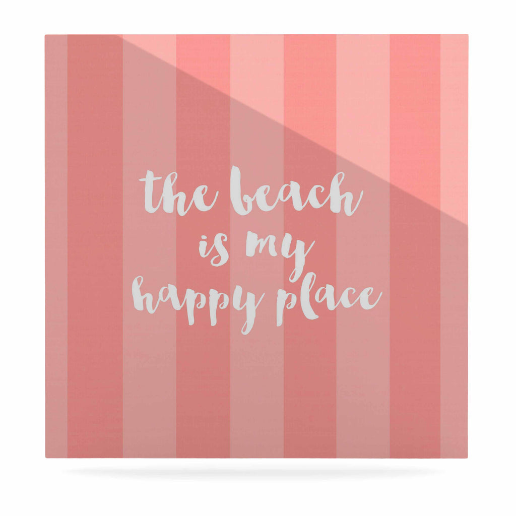 "Sylvia Cook ""Beach is My Happy Place - Coral"" Pink Typography Luxe Square Panel - KESS InHouse  - 1"