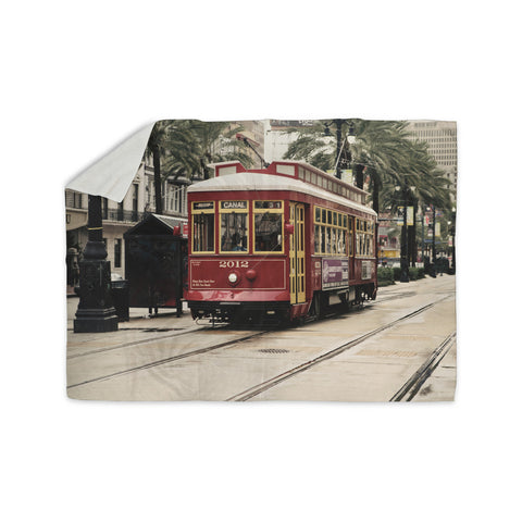 "Sylvia Cook ""Canal Street Car"" Travel Urban Sherpa Blanket - KESS InHouse  - 1"
