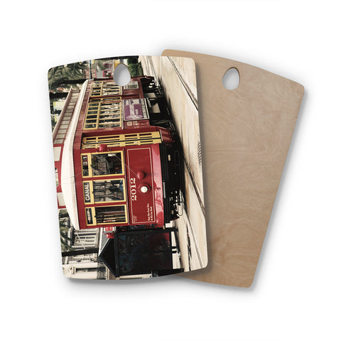 "Sylvia Cook ""Canal Street Car"" Travel Urban Rectangle Wooden Cutting Board"