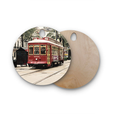 "Sylvia Cook ""Canal Street Car"" Travel Urban Round Wooden Cutting Board"