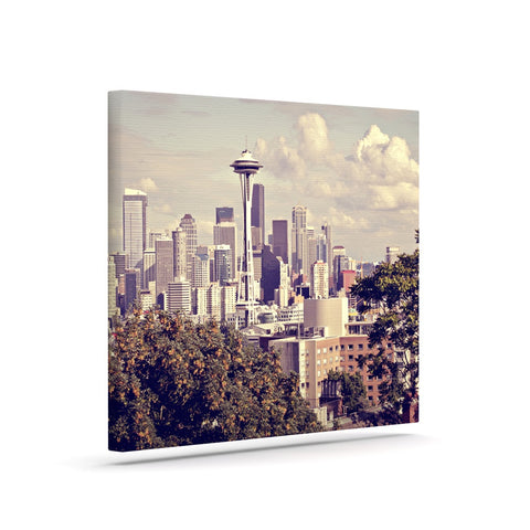 "Sylvia Cook ""Space Needle"" Beige Skyline Canvas Art - KESS InHouse  - 1"