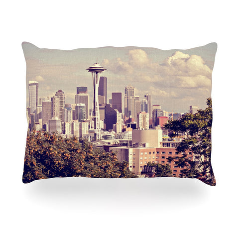 "Sylvia Cook ""Space Needle"" Beige Skyline Oblong Pillow - KESS InHouse"