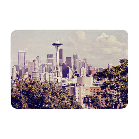 "Sylvia Cook ""Space Needle"" Beige Skyline Memory Foam Bath Mat - KESS InHouse"