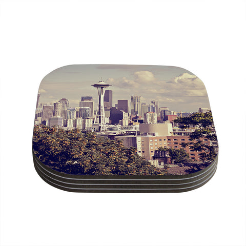 "Sylvia Cook ""Space Needle"" Beige Skyline Coasters (Set of 4)"